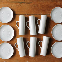 Tackett Demitasse Cups, La Gardo Tackett, Schmid International Porcelain Cups, MCM Dinnerware, Scandinavian Modern, Tackett Espresso Cups