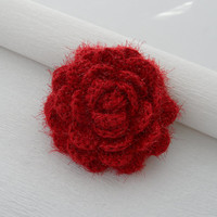 Crochet Brooch - Rose Brooch - Corsage Brooch Pin -  Red Fluffy Rose- Christmas Ocasion Party Brooch