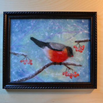 "Wool Painting ""Bullfinch"", Wool Art, Wool Felting, Felt Painting, Fiber Art, Home Decor, Wall Decor, Framed Wall Art, Felt ArtHandmade Art"