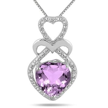 1.75 Carat Heart Shape Amethyst and Diamond Pendant in .925 Sterling S
