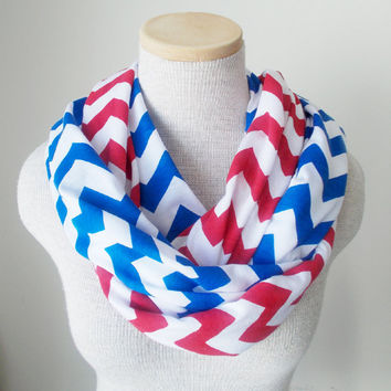 Doubled Up Scarf - Patriotic Red White and Blue Chevron Infinity Scarf