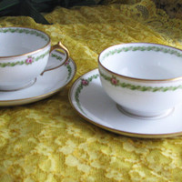 Limoges GDA France, Pink Rose Vintage Teacups And Saucers, 4pc Set, Perfect Bridal Shower Gift