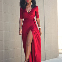 Red Wrap V-Neck Lace Waist Slit  Evening Dress