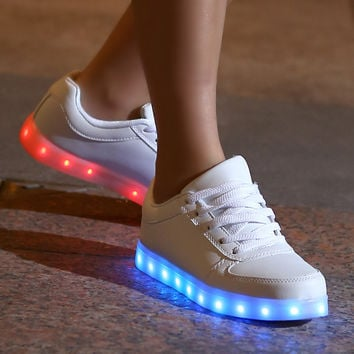 Luminous Shoes Unisex Lace Up USB Charging Light Up White