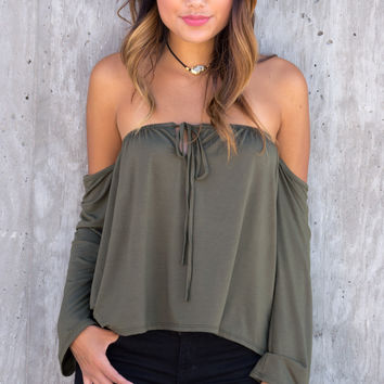 Lana Tie Front Off The Shoulder Top - Olive