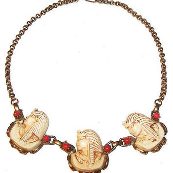 "Egyptian Pharaoh Bib Necklace Carved Bone Carnelian Gold Rolo Chain 17"" Vintage"