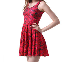 Red Fish Scale Print Sleeveless Pleated Mini Dress