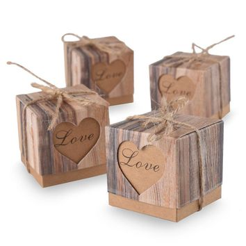 50pcs Candy Boxes Love Rustic Kraft Bonbonniere With Burlap Jute Shabby Chic Vintage Twine Wedding Favor Imitation Bark Gift Box