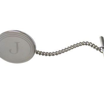 Silver Toned Etched Oval Letter J Monogram Tie Tack