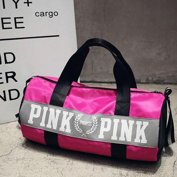2017 Women Handbags Pink Letter Large Capacity Duffle Bags Strip 13cef3ba72