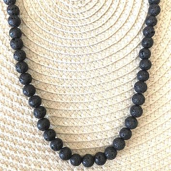 Black Lava Beaded Mens and Womens Necklace