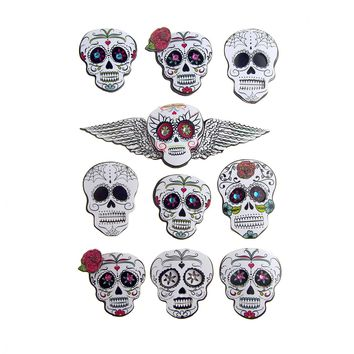 Black and White Sugar Skull Pop Up 3D Stickers, 10-Piece