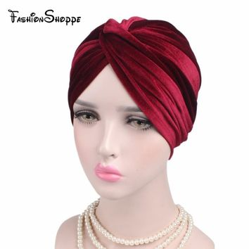 NEW Luxury soflt Velvet leopard Turban twsit Headwrap women Headband Chemo Cap Liner For Cancer Hair Loss Ladies Turbante #YS302