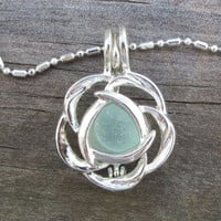 Aqua Sea Glass  Flower Necklace Locket Frosted Pale Rare Genuine