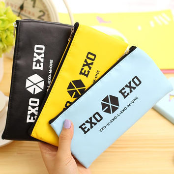 EXO kawaii pencil case Cute candy color PU leather stationery pouch bag School pencil case for girls office school supplies