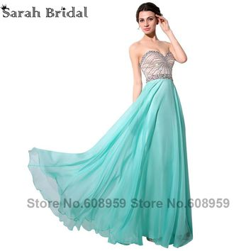 Aqua Sweetheart Prom Dresses Junoesque Crystal Long Ladies Evening Party Gowns 2017 Hot Sale Custom Made Vestido De Festa SY007