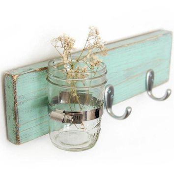 Seafoam key hook wood wall vase home organization by OldNewAgain