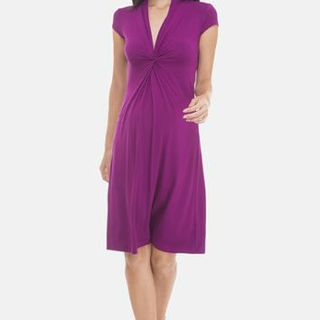 Olian Shirred V-Neckline Maternity