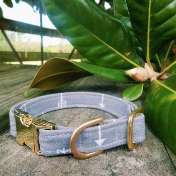Grey Dog Collar, Grey Design Dog Collar, Boy Dog Collar, Girl Dog Collar, Arrow Dog Collar