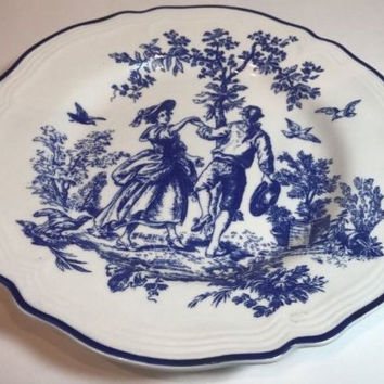 Tabletops Unlimited New England Toile Salad Plate Blue Trim & Landscape Scene