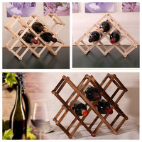 Classical Wooden Red Wine Rack Beer Foldable Bottle Holder Kitchen Bar Display Shelf Organizer