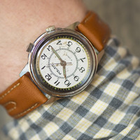 Men's wristwatch Poljot with alarm function rare watch round case watch silver caramel shades premium leather strap new