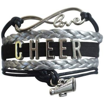 Girls Cheer Infinity Bracelet-Black & Silver