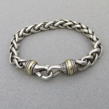 "David Yuman Sterling Silver & 18k Gold 8"" Heavy Wheat Chain Bracelet"
