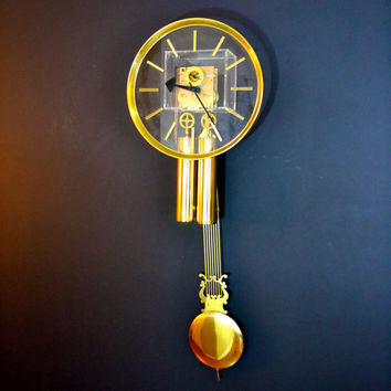Mid Century Modern Lucite Clock, Hanging Grandfather Clock, Made by George Nelson for Howard Miller, Brass Pendulum Clock