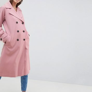 ASOS DESIGN Double Breasted Soft Formal Coat at asos.com