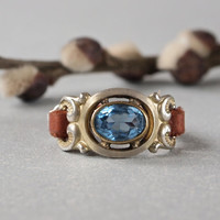 Vintage Czech Repurposed Ring Aquamarine Color Stone and Brown Leather Sterling Silver Choose size
