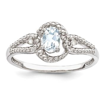 Sterling Silver Aquamarine & Diamond March Birthstone Ring