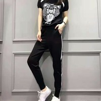 """Kenzo"" Women Sport Casual Stripe Tiger Head Pattern Print Short Sleeve Trousers Set Two-Piece Sportswear"