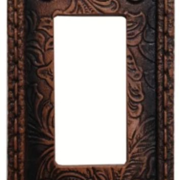Cowgirl Kim Tooled Flower Leather Single Rocker Switch Plate