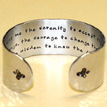 Serenity Prayer... Hand Stamped Wide Cuff Bracelet by Korena Loves