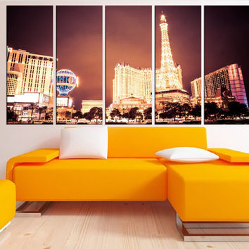 Las Vegas Night wall art canvas Print, Las vegas canvas wall art, extra large canvas art, Large las vegas wall decor  modern wall art 8s20
