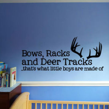 "LARGE 18"" x 42"" Bows, Racks and Deer Tracks, thats what little boys are made of antlers Vinyl Wall Art Decal for little bow hunters"