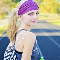 Fushia Purple Headband, Yoga Head Wrap, Workout Headwrap, Quick Dry Stretchy Headband Solid (Item 1208) Medium
