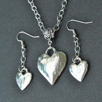 Silver Heart Necklace, Silver Heart  Earrings, Silver Heart Pendant Necklace Earring Set, Womens Jewelry, Silver Heart Set