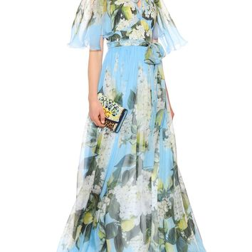 Floral silk-chiffon midi dress