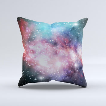 Colorful Neon Space Nebula Ink-Fuzed Decorative Throw Pillow