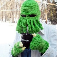 Free Shipping 2015 New ON SALE Unisex Octopus Winter Warm Knitted Wool Face Mask Hat Squid Cap Cthulhu Tentacles Beanie Hat