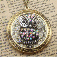 Steampunk Owl Brass Disc Locket Necklace Vintage by sallydesign