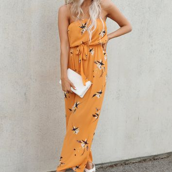 Funflower Strapless Jumpsuit (Burnt Orange Floral)