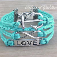 bracelet, anchor bracelet, mint green bracelet, mint green, infinity bracelet,anchor bracelet, love bracelet, bridesmaid, friendship gift