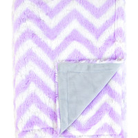 Tadpoles Chevron Minky Blanket - Purple