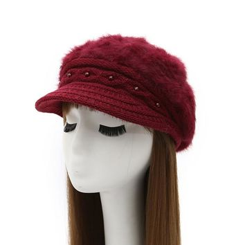 [AETRENDS] Women's Rabbit Fur Knitted Beanies Fashion Beret Hat with Velvet Inside and Pearl Decoration Z-3880