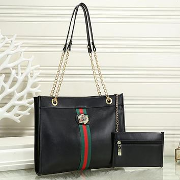 Gucci Women Leather Chain Tote Handbag Satchel Two Piece Set