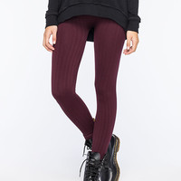 Full Tilt Cable Knit Womens Fleece Leggings Wine  In Sizes