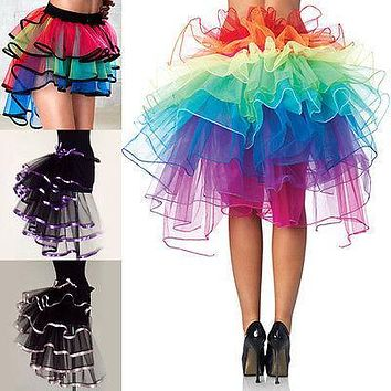 Sexy Womens Costume Tutu Skirts rainbow Girls Ball Party Colorful Petticoat Tutu Skirt Underskirt Fancy Mini Skirt